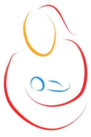 abstract mother and child sketch  Vector