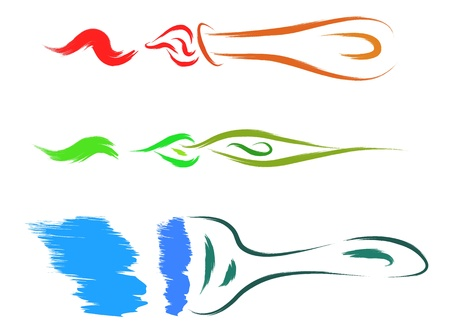 colorful brush and stroke  set  Vector