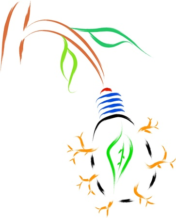 bulb in tree, eco concept of nature and environment Vector