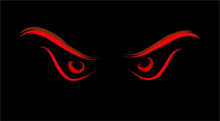 red predator evil eyes on black Vector