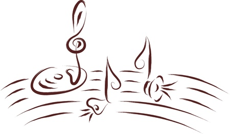 music notes, abstract sketch   Vector