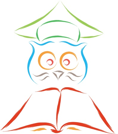 smart owl funny cartoon illustration  Vector