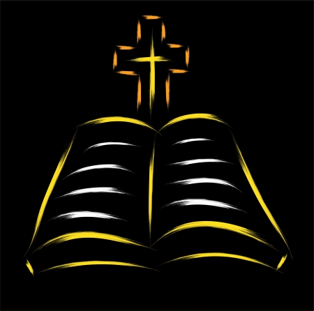 bible and cross sketch over black background Stock Vector - 16806938