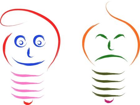 realist: bulb happy and sad funny concept illustration