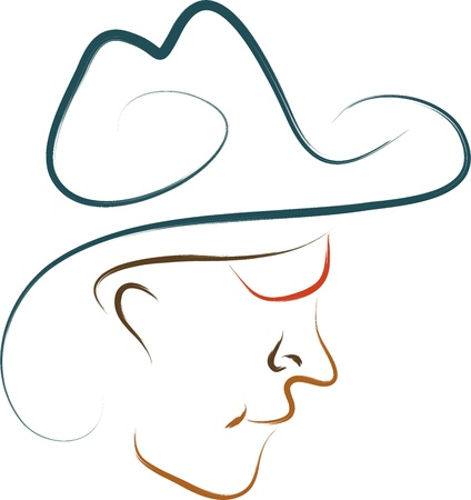 old cowboy:  cowboy drawing sketch symbol