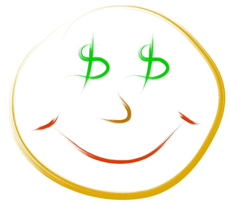 funny concept of happy face and dollar eyes Stock Vector - 16806924