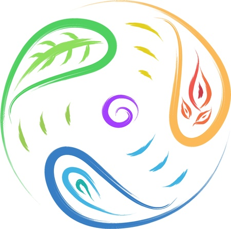nature symbol leaf, fire, water circle of life