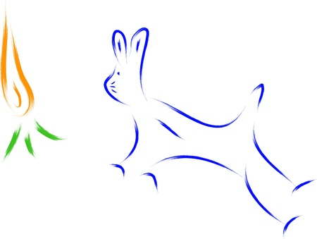 abstract bunny and carrot sketch illustration Vector