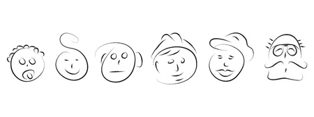 smiling young man: man faces evolution in life family  Illustration