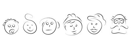 caucasian man: man faces evolution in life family  Illustration