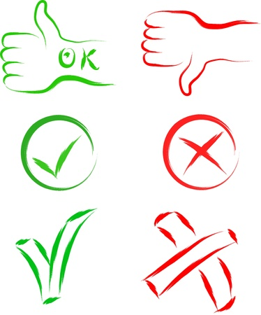 yes ok no cancel sign set  Vector