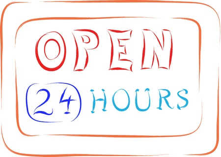 open sign, 24 hours a day sketch Stock Vector - 16850729