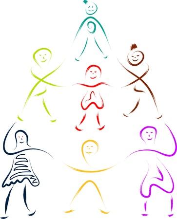 kids or children teamwork sketch Stock Vector - 16850704