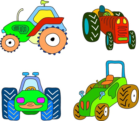 doodle tractor set, cartoon illustration  Vector