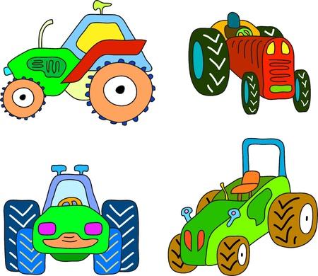 doodle tractor set, cartoon illustration Stock Vector - 16850450