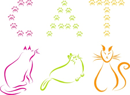 cat set with paw text illustration  Vector