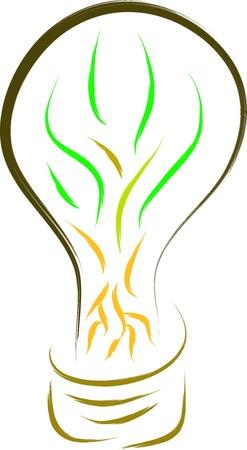 eco green light bulb sketch Stock Vector - 16850609