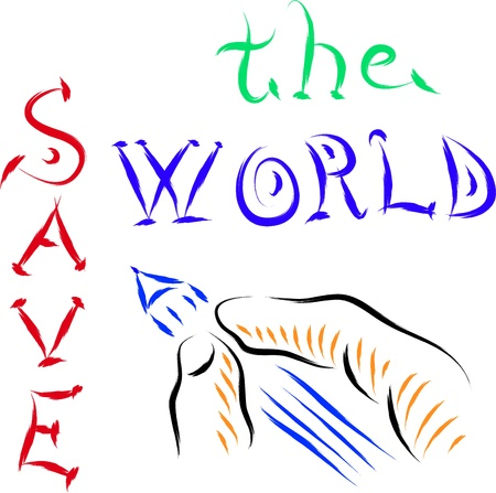 save the world sketch hand drawing style Stock Vector - 16850701