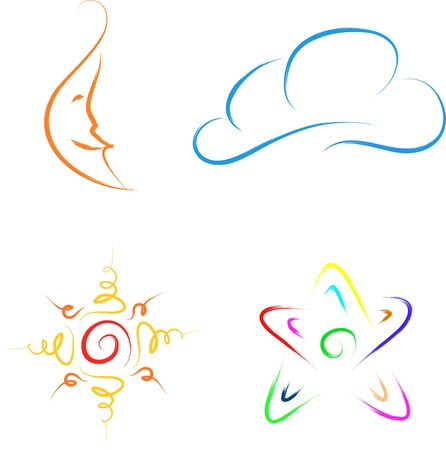 sky and space icons set collection Vector