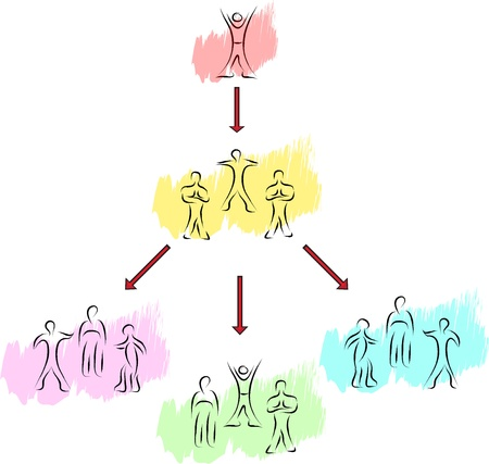 people groups concept sketch with arrows concept Vector