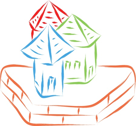 real state: real estate houses sketch illustration Illustration