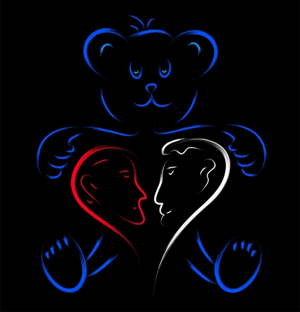 teddy bear with love couple heart  Vector