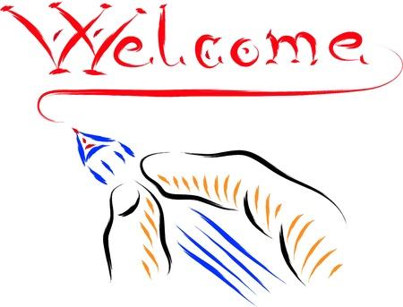 hand written: welcome text hand written illustration