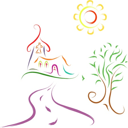 abstract sketch of church landscape religious scene Vector