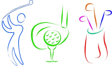 golf club: sketch of golf set items abstract illustration Illustration