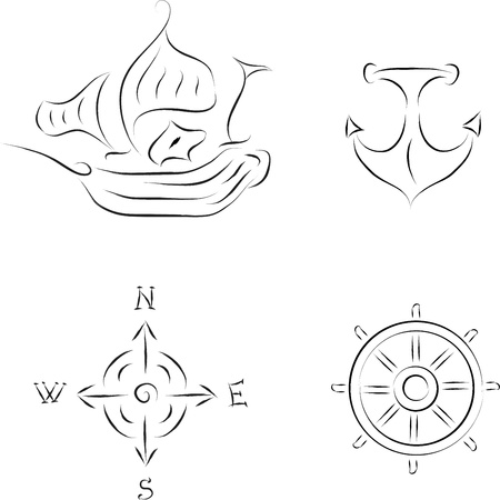 navy ship: set of nautical icons vector illustration