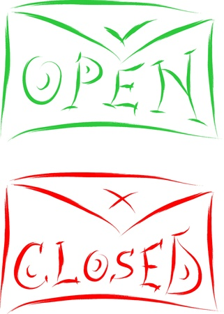 open and closed signs on envelope vector Stock Vector - 16887326