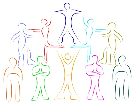 teamwork people helping concept vector sketch Stock Vector - 16887338