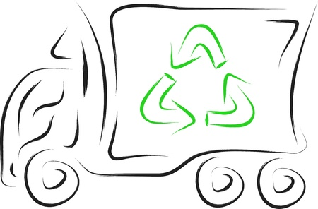 doodle recycle truck vector illustration Illustration
