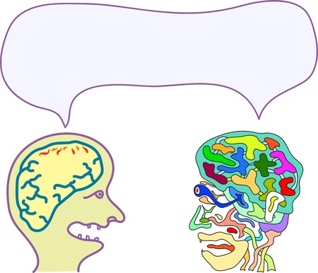 tandem: funny abstract sketch of two people sharing a thought