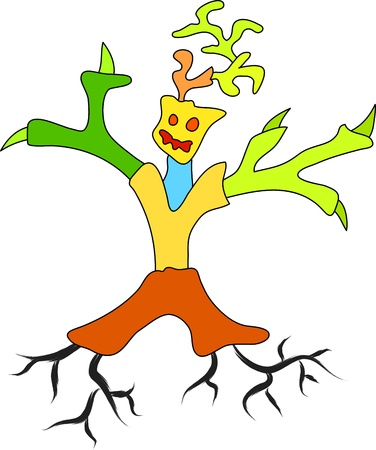 alive: cartoon sketch of alive tree with man shape Illustration