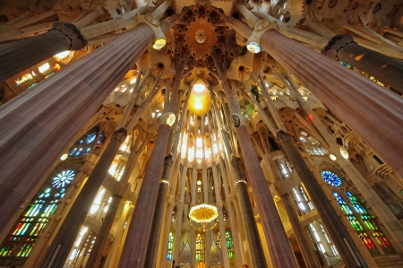 Barcelona - September 27  Inside Sagrada Familia - the cathedral designed by Gaudi and being in construction since 1882  photo taken on september 27, 2011 in Barcelona, Spain  Editorial