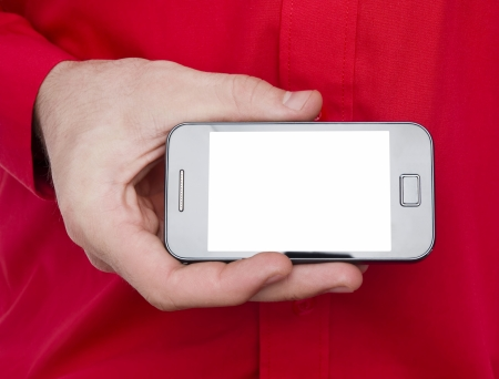 man with red shirt showing blank white screen smart phone photo