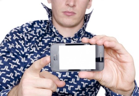 man with shirt showing smart mobile phone with blank screen Stock Photo - 17081394