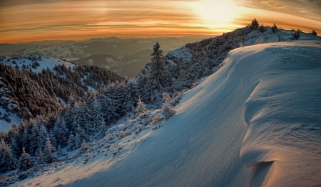 mountain sunset landscape in winter photo