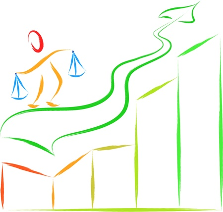 business man success on statistics graph  Stock Vector - 17147822