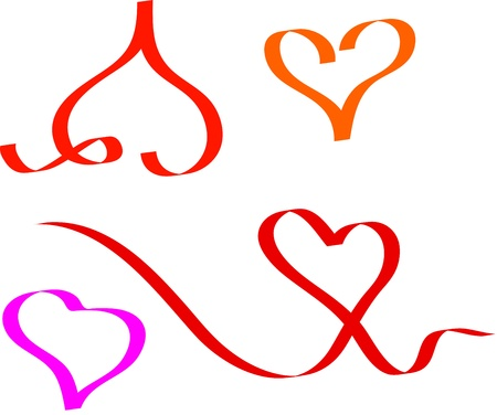 heart set illustration in abstract ribbon drawing style Stock Vector - 17147836