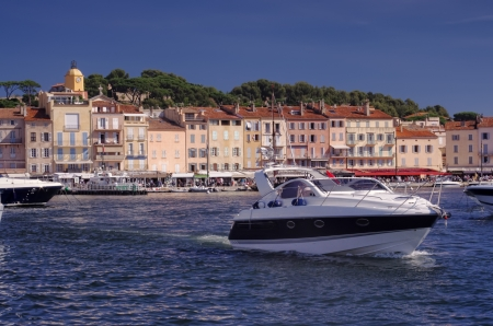 yacht in port of Saint Tropez, France photo