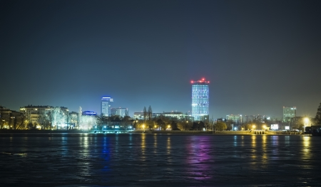 night skyline of Bucharest city photo