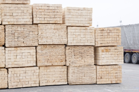 lumber industry: pile of timber in deposit Stock Photo
