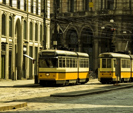 electric tram: Old tram in Milan, Italy