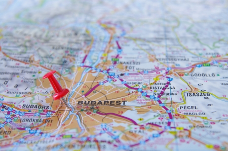 Push Pin Pointing In Budapest, Hungary Map Stock Photo, Picture And ...