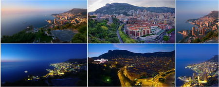cote: collection of photos Monte Carlo Monaco day and night Stock Photo