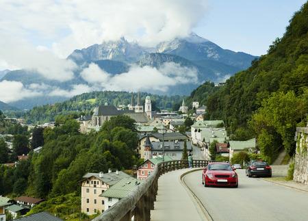 berchtesgaden: Berchtesgaden city landscape and Watzmann mountain in Germany Alps