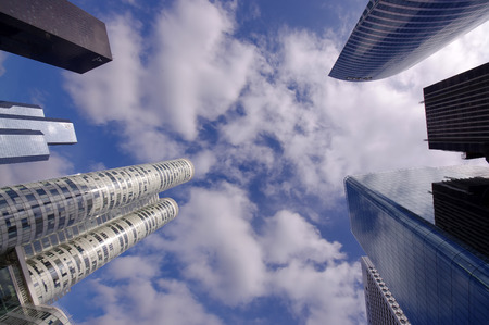 la defense: modern skyscraper business view of La Defense, Paris, France Editorial