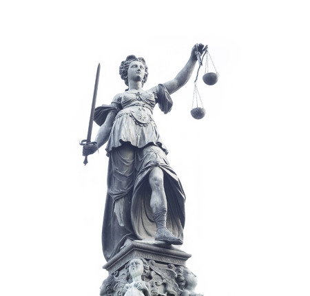 roman blind: photo of statue of Lady Justice statue in Frankfurt Editorial
